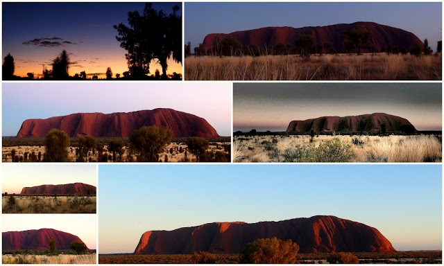 The different colors of Uluru at sunrise