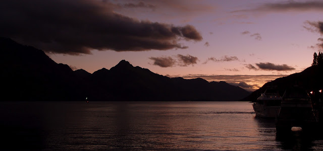 Queenstown harbour in the evening