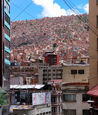 The steep hills of La Paz, rising up to around 4km in altitude