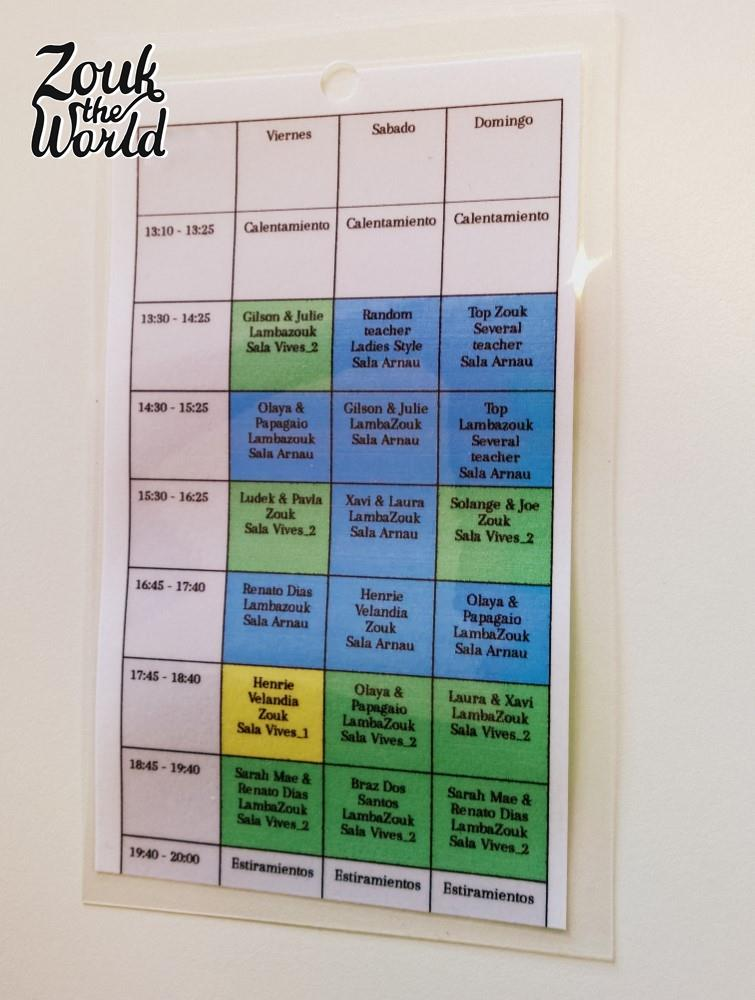My weekend schedule, all gloriously laminated - My ticket to the workshops.