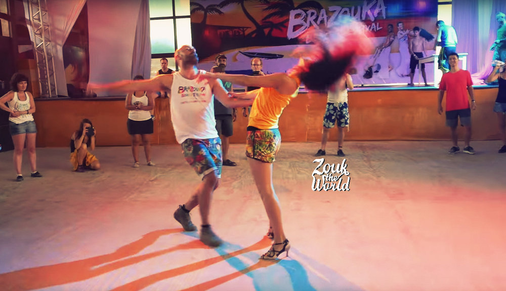 Olaya & Papagaio dancing after their workshop at the Brazouka Beach Festival in Porto Seguro, Brazil
