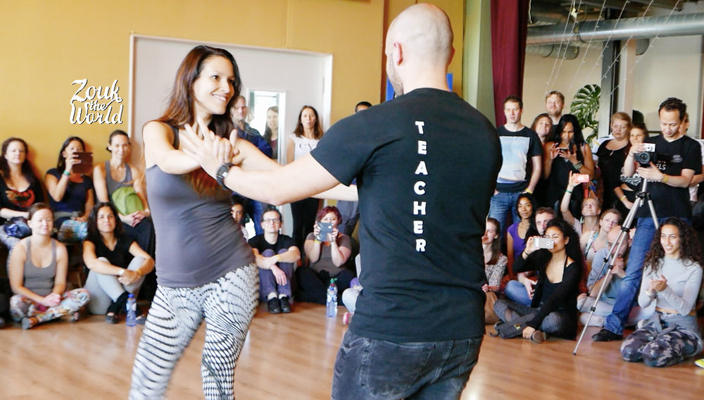Olaya on the fifth month of her pregnancy, dancing with Papagaio at Brazilian Dance Festival in Amsterdam