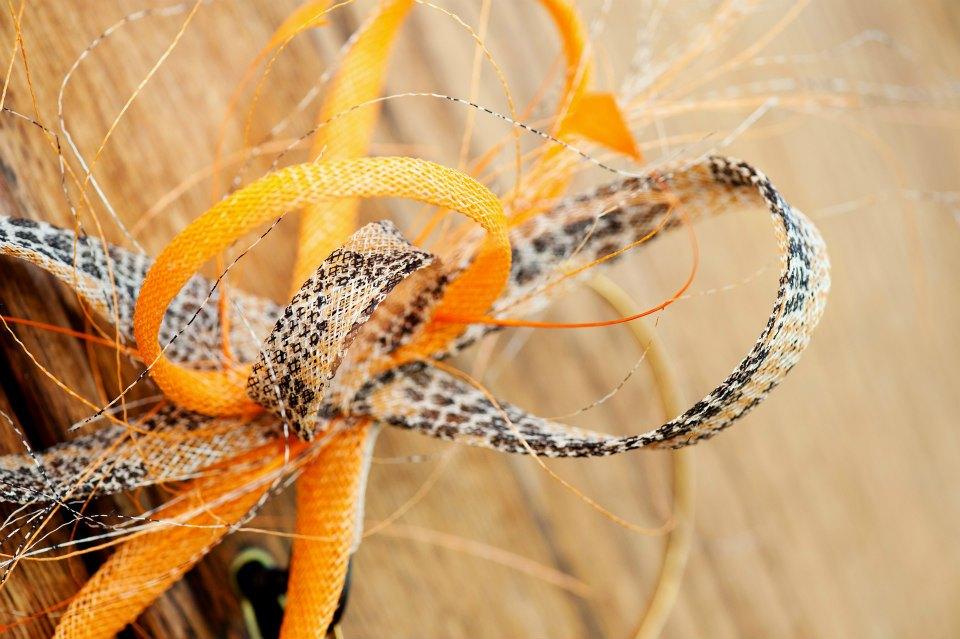 Snake print sinamay loops
