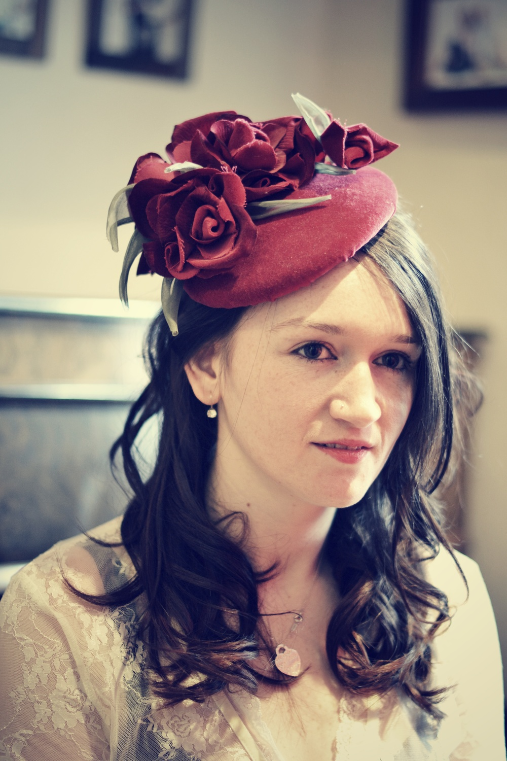 Velvet button hat with handmade roses