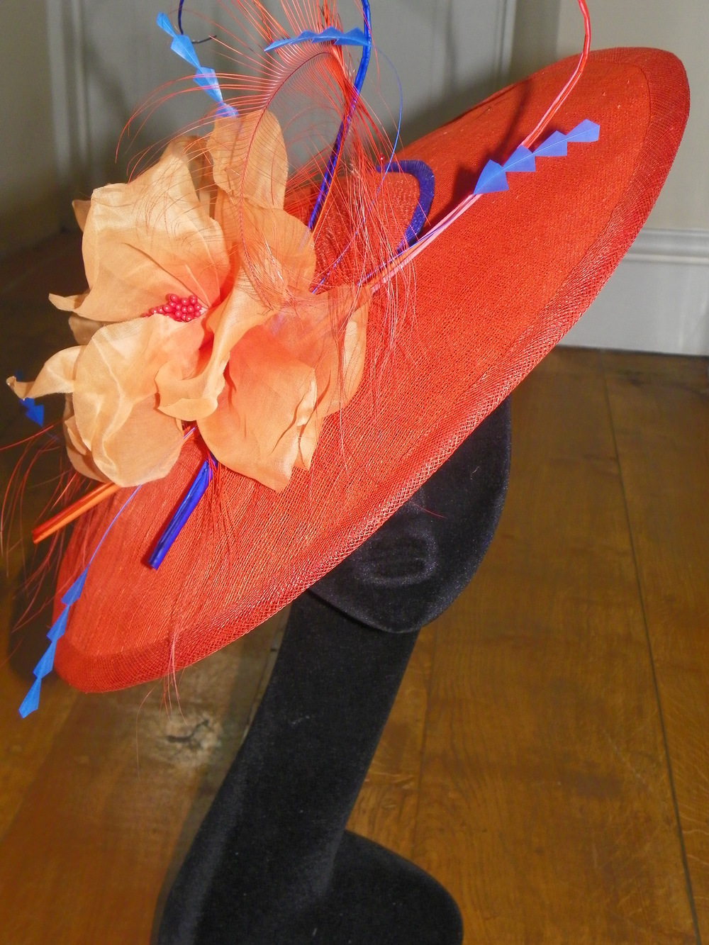 Large oval saucer hat with handmade poppy and contrast trim