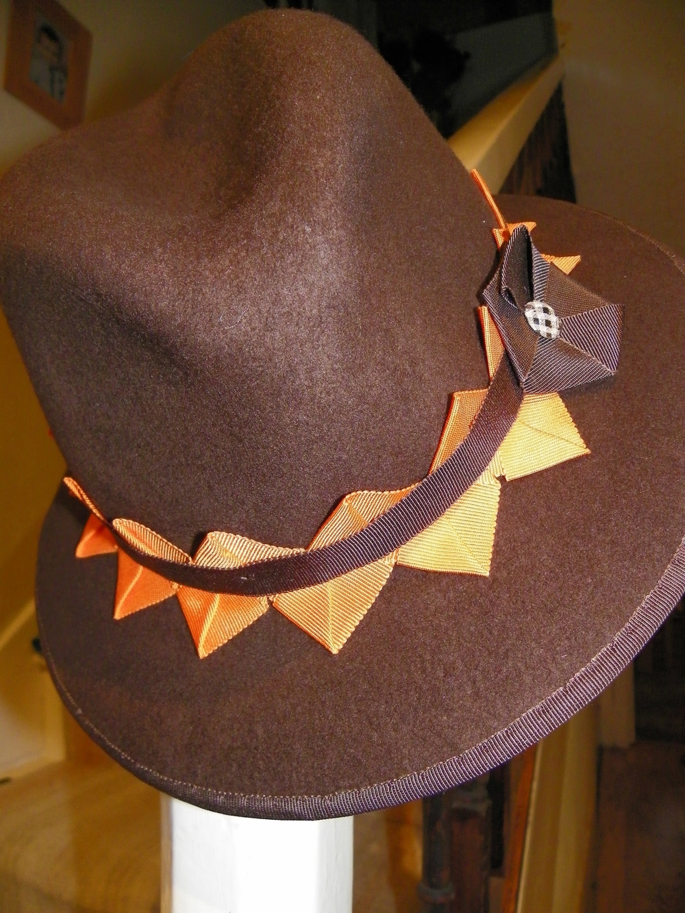 Brown wool trilby with vintage style pleated trim