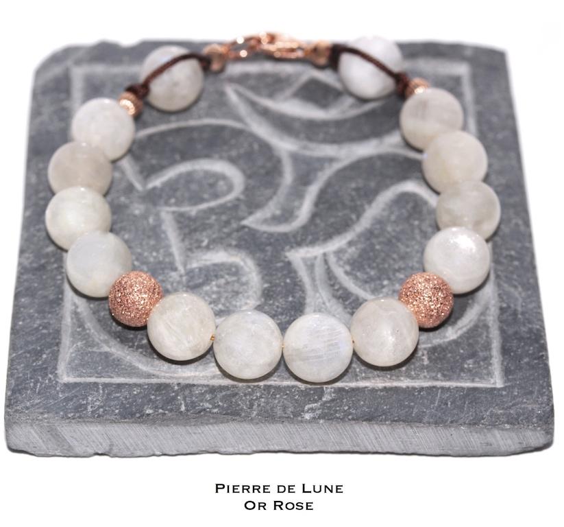 Bijou de poignet en Pierre de Lune et Or Rose