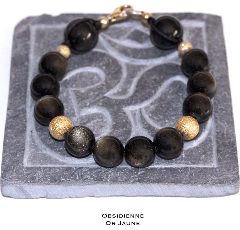 Bijou de Poignet n12 en Obsidienne et Or Jaune