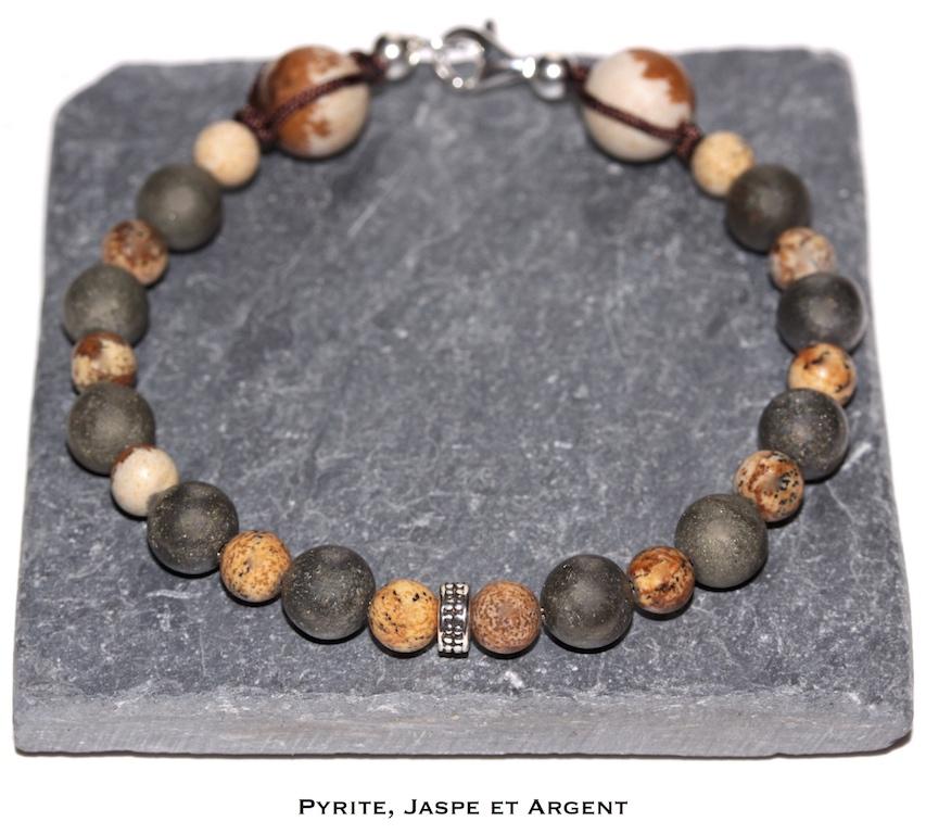 Bracelet en Pyrite et Jaspe de l'atelier JAWERY