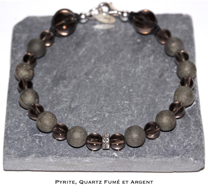 Bracelet en Pyrite et Quartz Fumé de l'atelier JAWERY