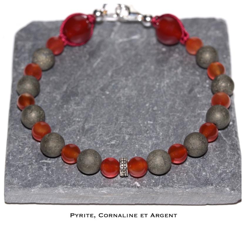 Bracelet en Pyrite et Cornaline de l'atelier JAWERY
