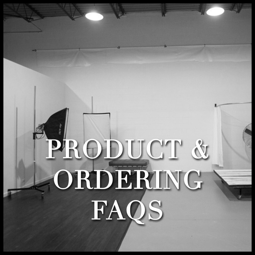 """PRODUCT & ORDERING FAQS Answers to common questions like... Do I need to choose which collection I want before the shoot? - How many images will I be able to choose from? - Will my portraits be """"Photoshopped?"""""""