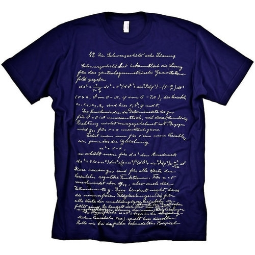 "10. ""NO DUH, EINSTEIN"" T-SHIRT (MEDIUM, WOMEN'S & MEN) €25.00 Einstein's own handwritten notes for his Theory of Relativity is carefully screen printed in white ink on a soft, navy blue t-shirt. Get one of these unique designs before they disappear faster than the speed of light!"