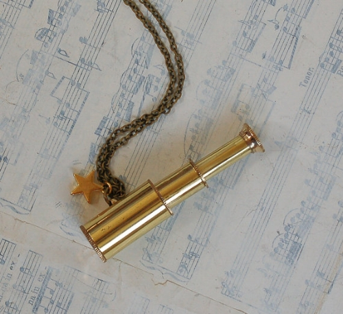"16. ""GALILEO"" NECKLACE €25.00 A gorgeous, fully-functional, polished mini brass telescope."
