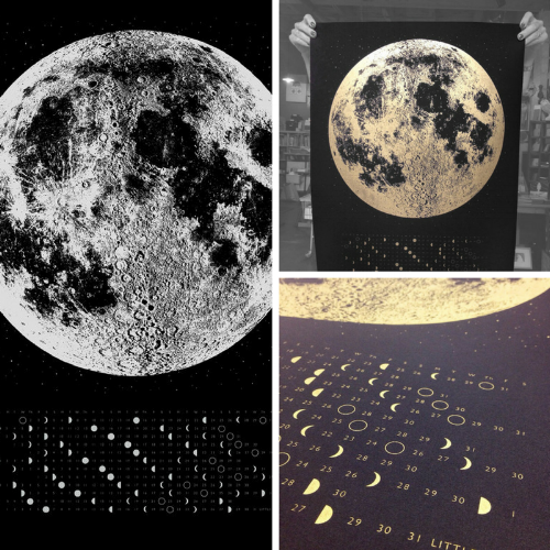 "12. ""2017 PHASES OF THE MOON"" LARGE SCREENPRINT - GOLD ON BLACK €50.00 Simple, scientific, modern and beautiful. Make a statement in your house with this gorgeous art print!"