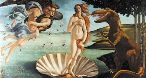 "8. ""BIRTH OF VENUS, WITH DINOSAUR"" ART PRINT €15.00 The great renaissance artist Sandro Botticelli painted The Birth and Death of Venus in 1486, depicting both the beauty and innocence of youth, and our inevitable death by dinosaurs or monsters (a common threat in Italy in the 15th century)."