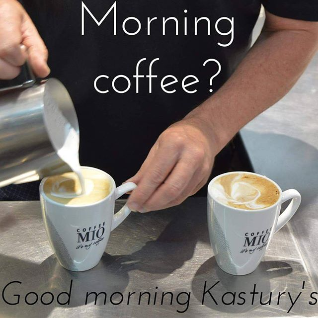 "Need that morning coffee? Visit ""Kastury's: On James St."" Weekdays 7.00am-5.00pm & Sundays from 6.30am  #MorningCoffee #GoodMorning #Coffee #Breakfast #Lunch #Cafe #Beenleigh #BeenleighCoffee #GoldCoast"