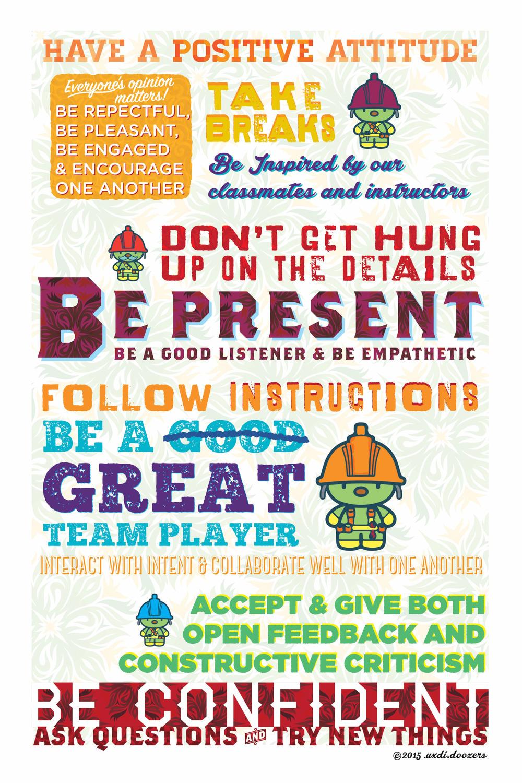 Poster design volunteer - Uxdi Cohort Doozers Class Ground Rules B X T Design Awesomeness