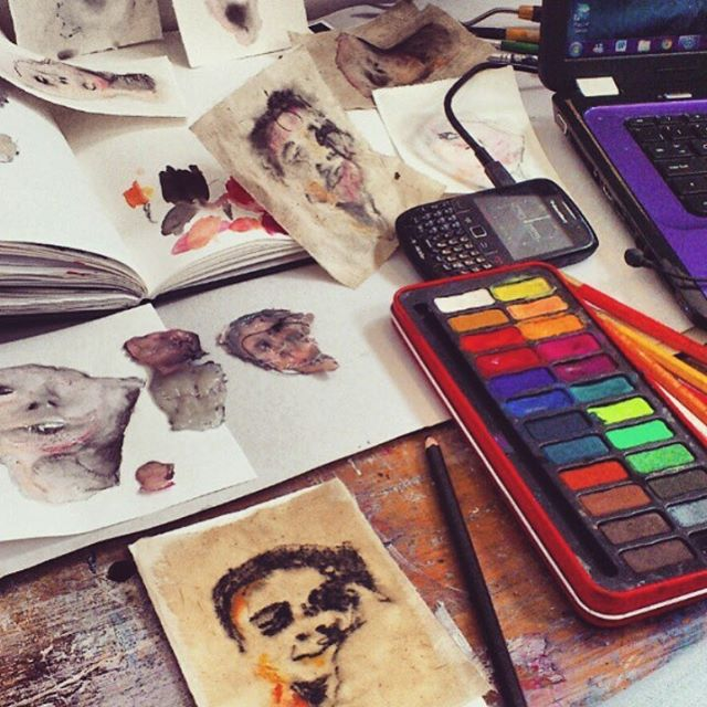 Seeing sixth formers getting excited about foundation makes me want to do it all over!  Can't believe this is almost 4 years ago! #foundationartanddesign #watercolour #portraits #stitch #studio #artstudio #studiospace
