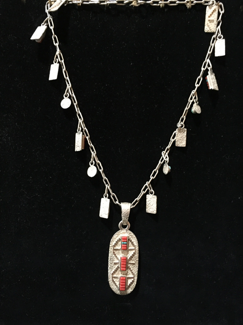 M055 navajo harrison jim necklace with cartouche pendants zuni m055f navajo sterling silver cartouche pendant necklace 500 aloadofball Image collections