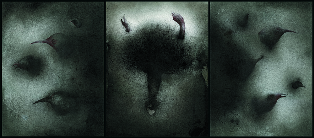 I Will Remember [Triptych]  Ink, metallic pigment on paper 20 X 36 inches 2000