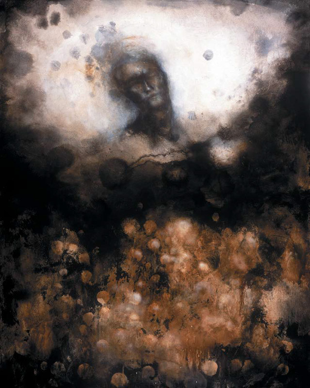 Sleeping Man with Cloud Fragments [That Which is Most Vital Must First Become Possible]  Oil, emulsion, charcoal, asphaltum on canvas 60 X 48 inches 2005