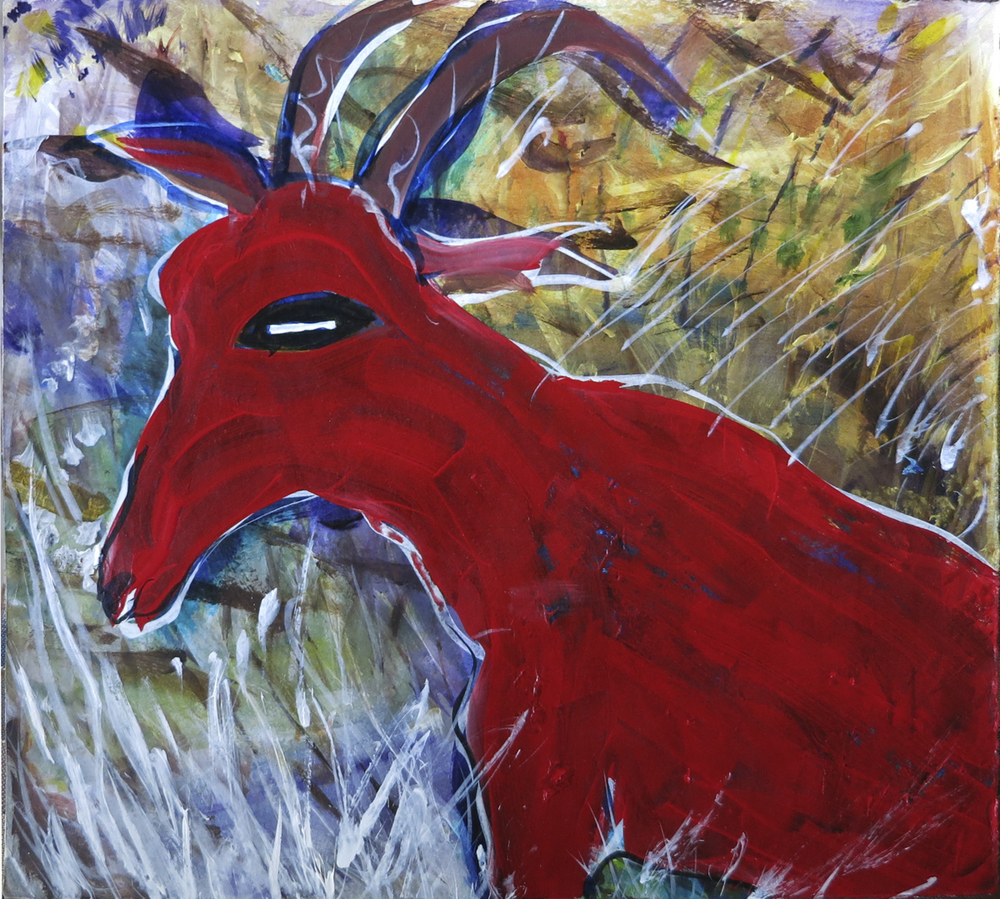 "Red Goat<br>11""x 13"""