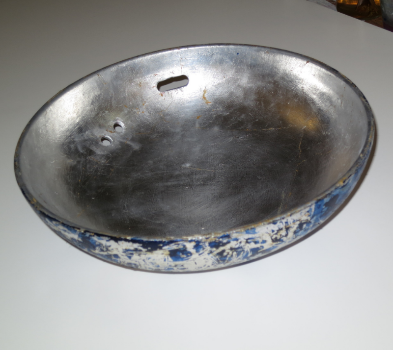 "Silver leaf, acrylic on 11"" porcelain bowl, Barbara Frank"