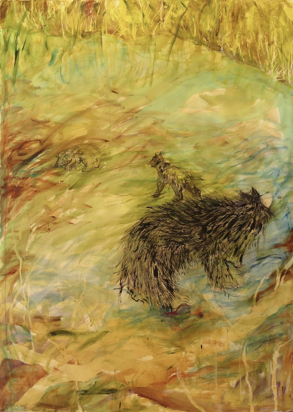 "Drowning Sloth Bears<br>72""x 52"""
