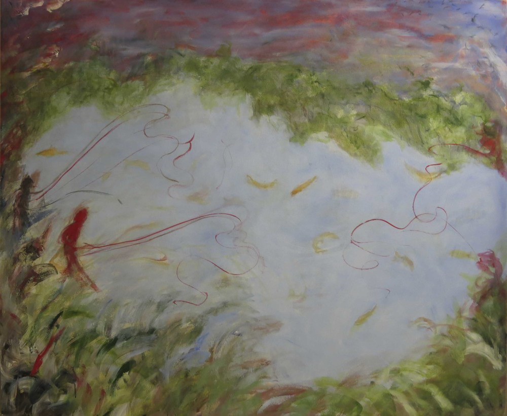 "The Casting Pond No. 3: Fishing Lines<br>54""x 66"""