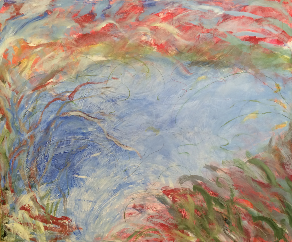 "The Casting Pond No. 4: Fish in the Water, Fish in the Sky<br>54""x 66"""