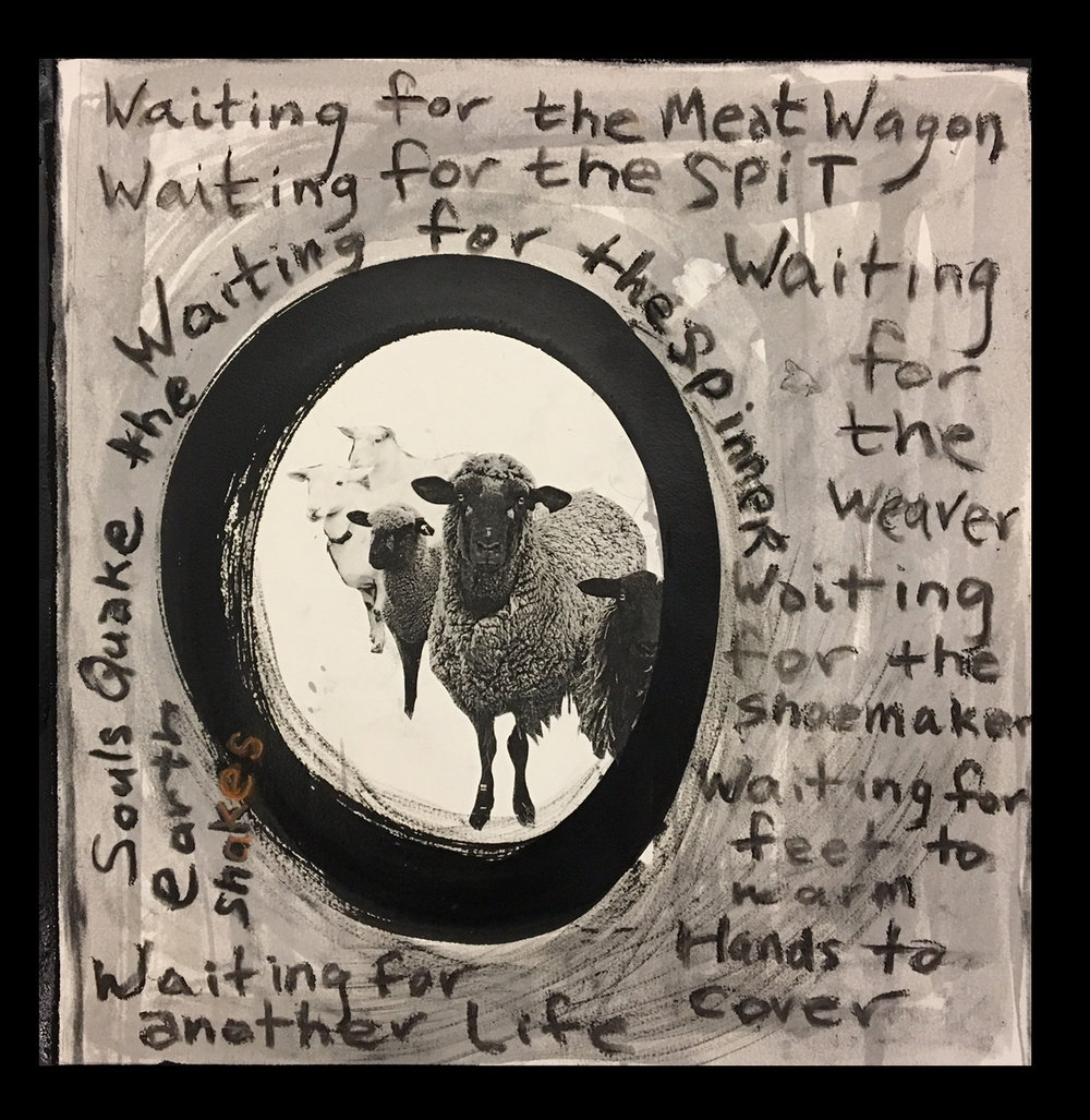 "Impermanence-Waiting for the Meat Wagon <br> 19 1/2""x20"""