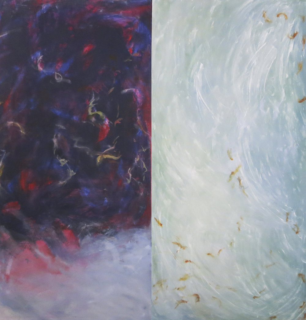 "Floaters/diptych<br> 54""x 52"""