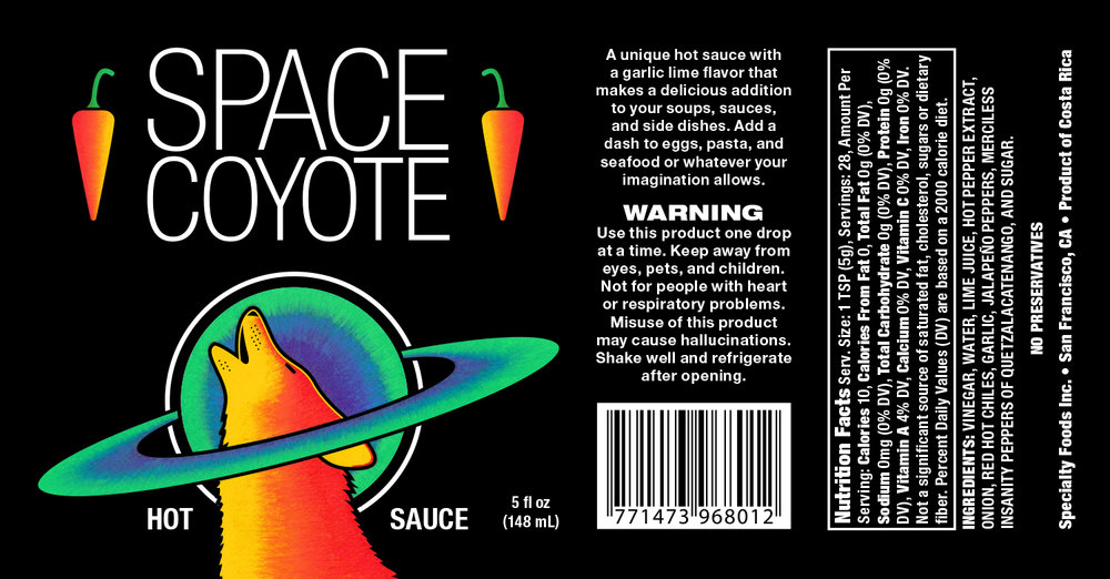 Space Coyote Hot Sauce Label (2013)