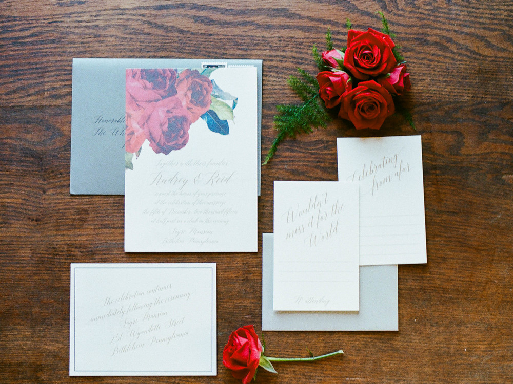 invitation set with roses