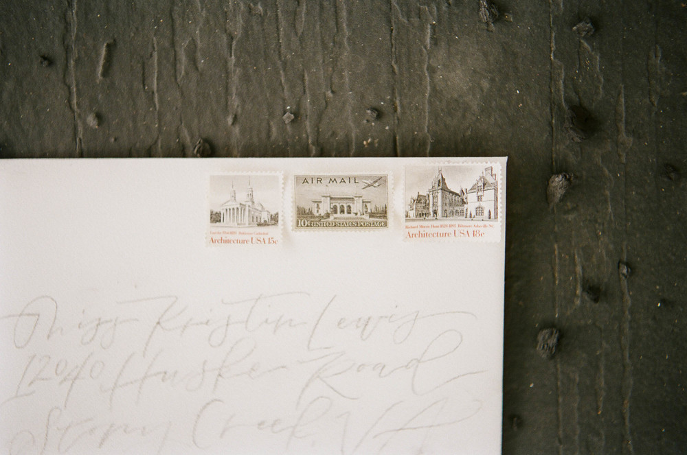 vintage stamps at a wedding