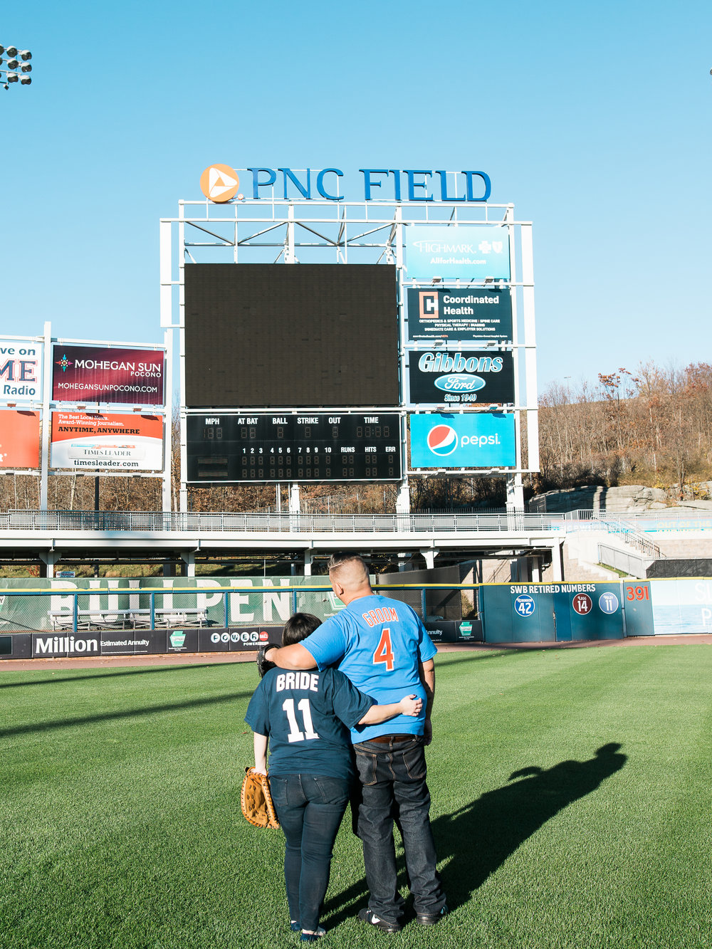 baseball field scranton railriders engagment pictures