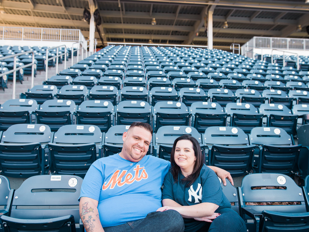 engagement pictures at the baseball stadium