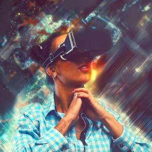 Woman in virtual reality