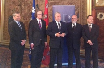 Announcement in London of a scientific and academic partnership between Université Laval and Oxford University with the Québec Prime Minister Philippe Couillard
