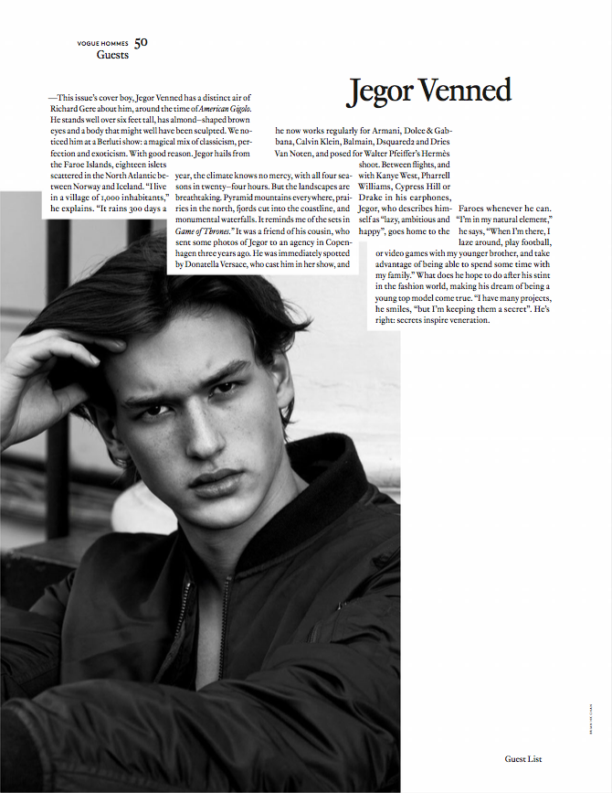 Jegor Venned by Brian HK Chan in Vogue Hommes No. 24 FW 2016