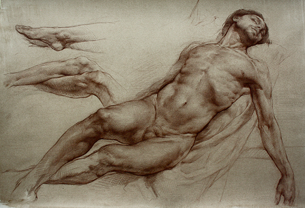 Colleen Barry, Deposition of Christ, 2012, brown pencil on toned paper, 11 x 17 inches (27.9 x 43.2 cm)