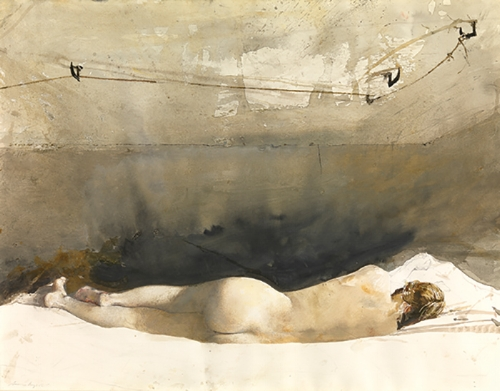 Andrew Wyeth, Study for Barracoon,1976, watercolor on paper, 193⁄4 x 251⁄8 inches (50.2 x 63.9 cm), copyright © Pacific Sun TradingCompany,