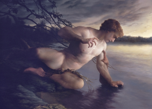 Camie Salaz , Narcissus , oil on linen, 30 x 40 inches (76.2 x 101.6 cm)