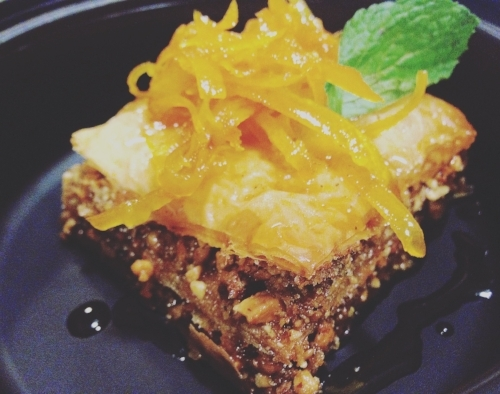 Baklava, orange zest, spiced espresso syrup