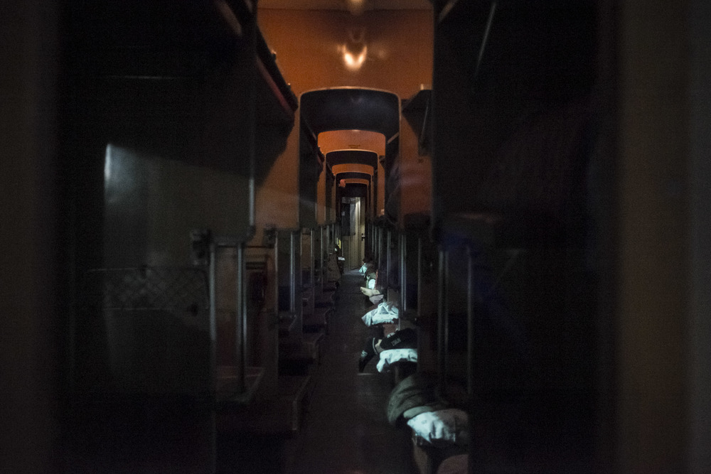 """Platzkartny"" coach on Moscow-Bishkek train, near Moscow, Russia, 2015"
