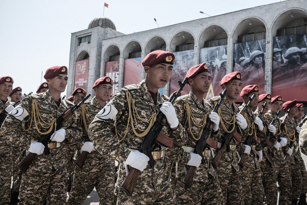 Soldiers of the Armed Forces of Kyrgyz Republic march on the rehearsal for the Victory day parade. Ala-too square, Bishkek, May 7, 2015
