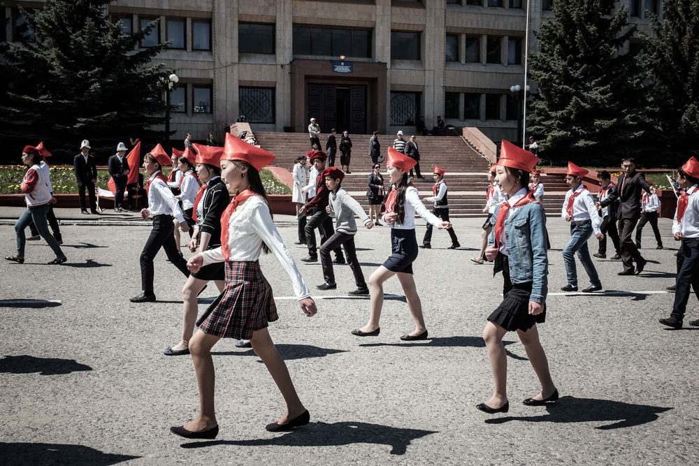 Pioneers march during a rehearsal for the the 70th anniversary parade of the Great Victory on the main square of Karakol (former Przhevalsk), East-Kyrgyzstan, May 4, 2015