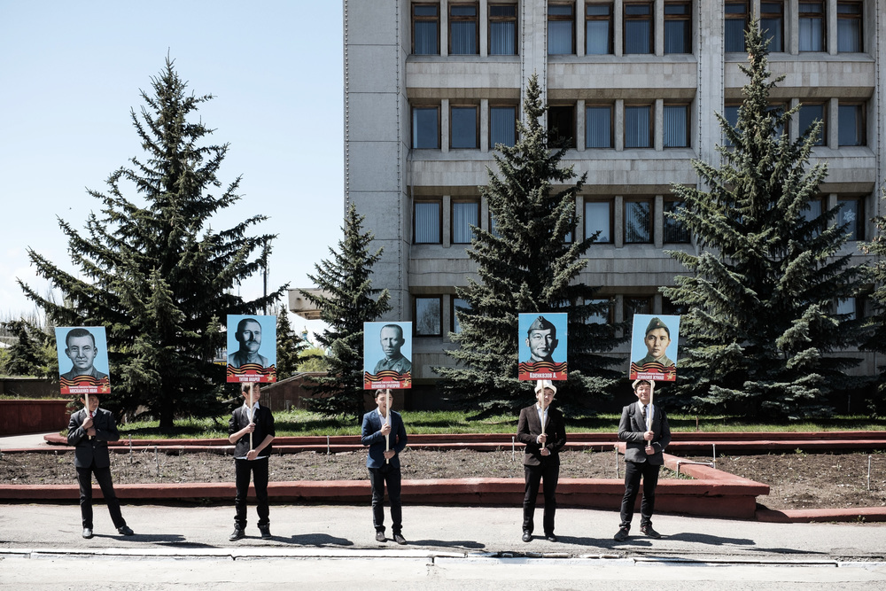 """Stalin, Zhukov, Rokossovsky, this is the right order"" - said the director of the military parade to local high school students in Karakol on a rehearsal for the 70th anniversary parade of the Great Victory. Karakol, East-Kyrgyzstan, May 4, 2015"