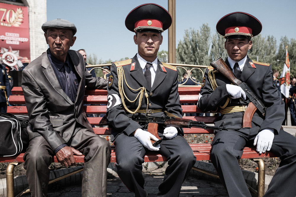 Portrait of kyrgyz army officers during a break on the rehearsal for the Victory day parade. Ala-too square, Bishkek, May 7, 2015
